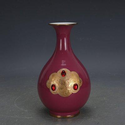 ㊣姥姥的寶藏㊣ 大清乾隆胭脂紅包金鑲寶石玉壺春海外回流官窯  古瓷古玩古董收藏