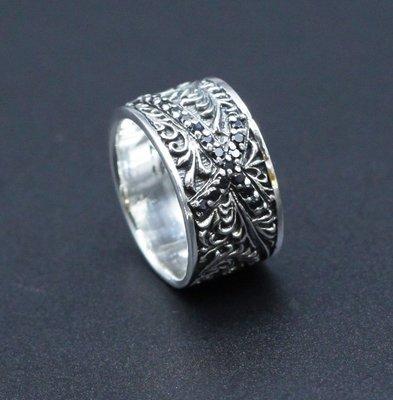 銀革手作 925 純銀 黑鋯石 精緻唐草紋 戒指