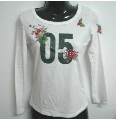 白色數字05花朵長袖上衣