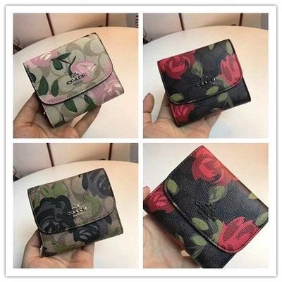 琳精品@COACH 25930 時尚新款PVC拼牛皮女士花朵短夾 百搭款 皮夾錢包