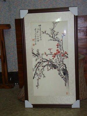 典藏了一幅陳子波大師的畫梅圖~~經典!