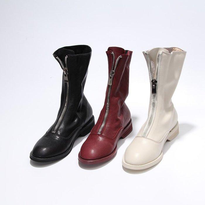 【鳳眼夫人】訂製款 3色 全真皮小羊皮歐美個性時尚爆款褶皺前拉鍊粗跟低跟靴尖頭靴 guidi靴馬汀靴長統靴拉鍊靴頹廢風