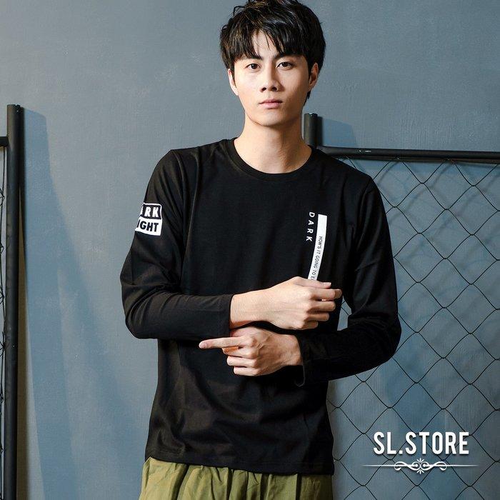 SL Store【YH577】前胸白條文字印花長T‧黑/紅/M/L/XL