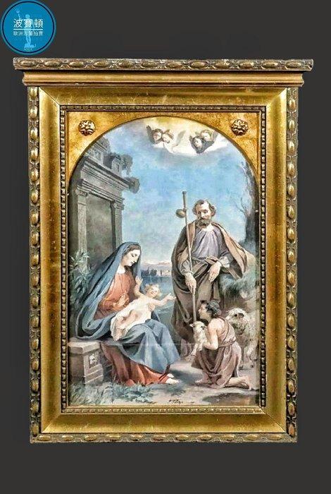 【波賽頓-歐洲古董拍賣】歐洲/西洋古董 法國古董Madonna with Jesus child手繪油畫 (尺寸:55×39公分)(年份:1900年)