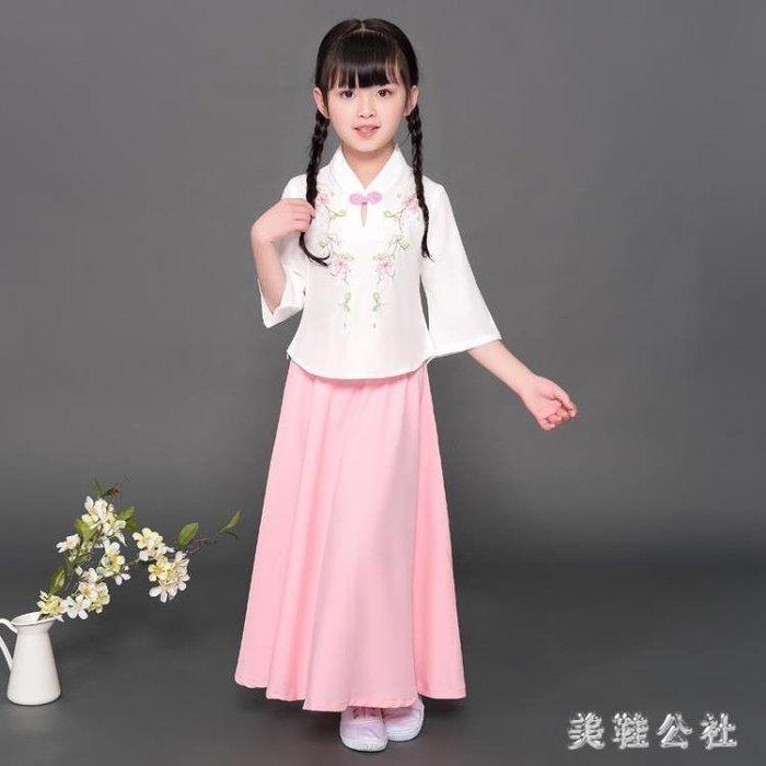 女童漢服唐裝兒童旗袍女童中國風兒童漢服女古箏演出兒童服裝 st3107