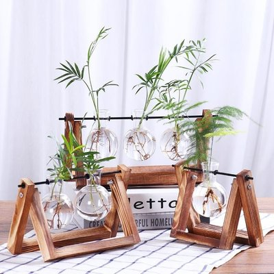 懸掛綠蘿水培花瓶小清新插花透明玻璃容器創意木架花瓶裝飾品擺件 WD    全館免運