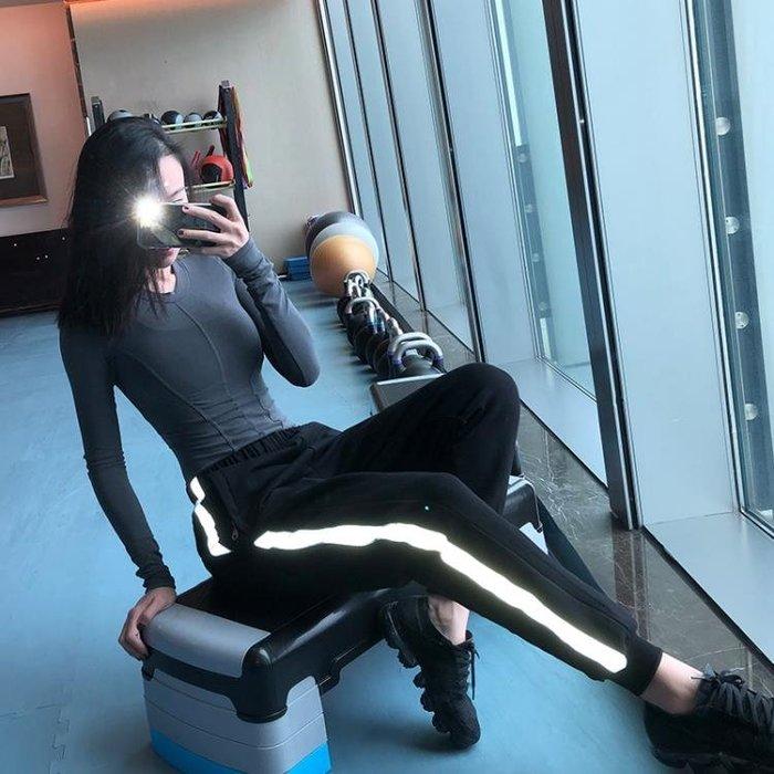 REMODELING休閒反光寬鬆加絨運動褲女 健身訓練跑步運動服長褲