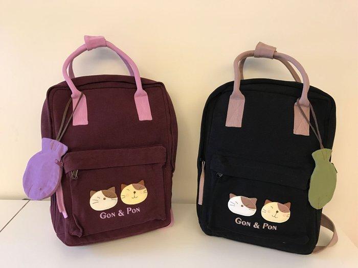 日本卡拉貓~Gon&Pon配色防水手提後背包 2用包