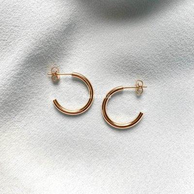 純銀專賣飾品美國設計師Libby 純銀注金極簡百搭中性圓形耳圈耳釘 DIME 20mm