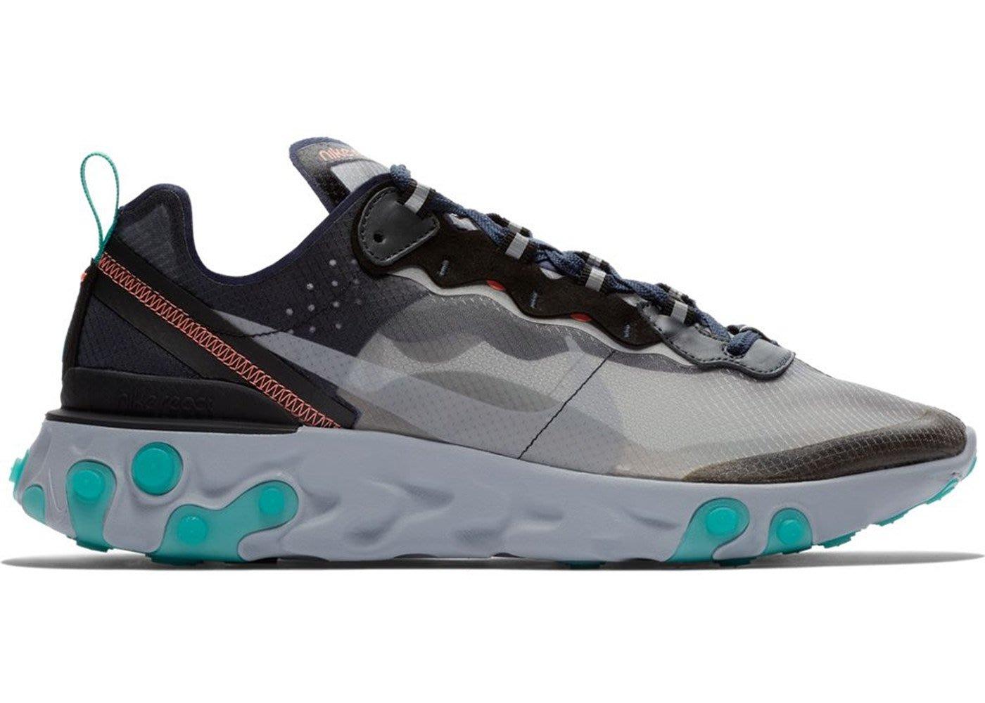 美國鞋校  預購Nike React Element 87 Black Neptune Green eace938f7