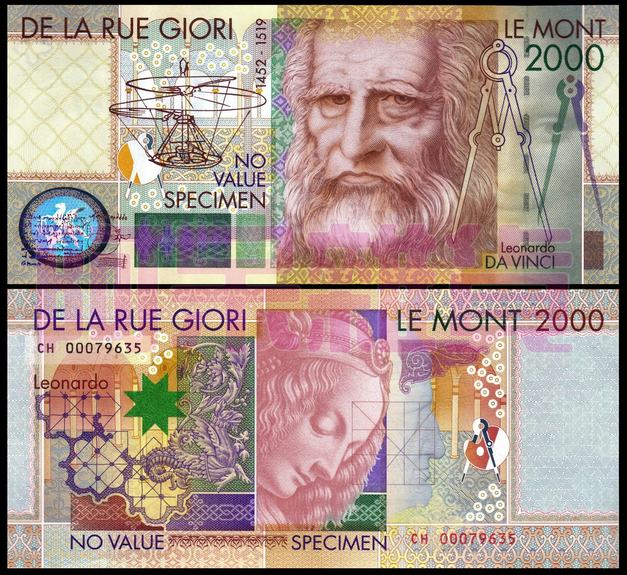 森羅本舖 現貨實拍 2000年 李奧納多 達文西 樣鈔 紀念鈔 測試鈔 畫 鈔票 文藝復興 歐洲 義大利 蒙娜麗莎的微笑