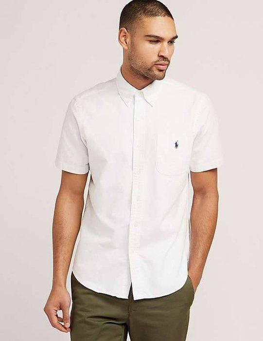 【現貨出清不退換】Ralph Lauren 成人牛津布短袖素色襯衫 有口袋 保證正品 歡迎來店參觀