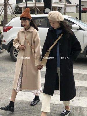 【獨家新品】呢子外套 2020秋冬新款正韓流行毛呢外套女冬季氣質中長款黑色加厚呢子大衣
