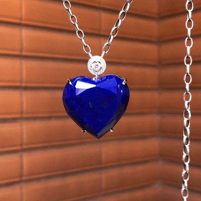 Crystal~B17 天然 心型 青金石 銀墜,實品超級美,不含鍊,只給第一標~