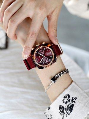 手錶代購周冬雨同款手錶女網紅情侶男錶手錶時尚潮流防水大錶盤帆布石英錶