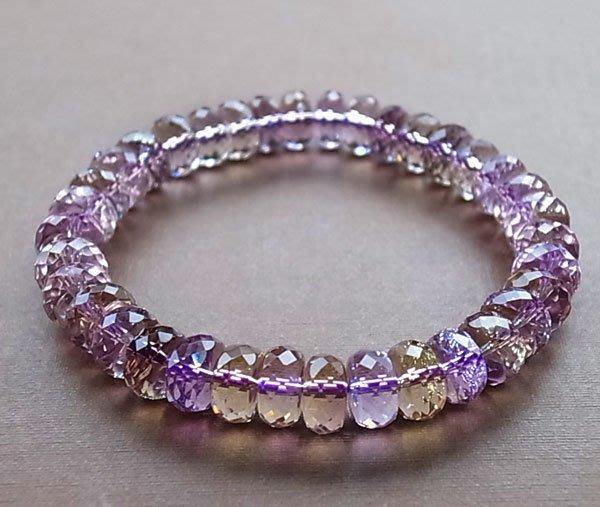 ☆采鑫天然寶石☆**慧喆**~~頂級紫黃晶手鍊~盤珠切面款~極美晶亮