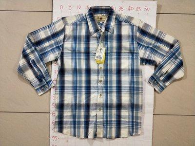 【二手衣櫃】全新 THREE CHEVALIER 格紋襯衫 藍白格紋長袖襯衫 型男帥氣藍白經典格紋長袖襯衫 107617