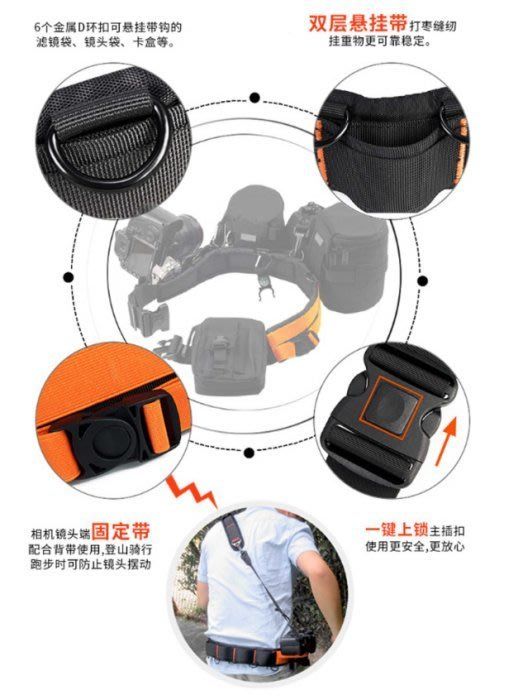 新莊~專業腰掛式 腰帶 攝影腰帶 單眼相機腰帶 閃燈 鏡頭腰掛式 雙層扣環 婚攝 婚錄 漆彈 重裝備 5d2 5d3