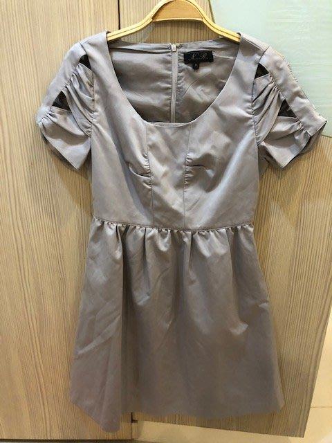 小花別針、專櫃品牌【NR】銀色晚會舞會氣質甜美短洋裝