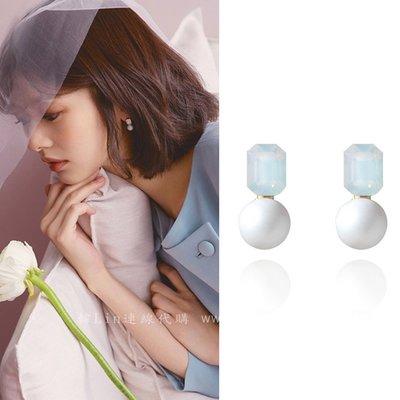 【韓Lin代購】韓國 GET ME BLIN- 明星同款抗敏銀針耳環 WHITE PURE BALLOP