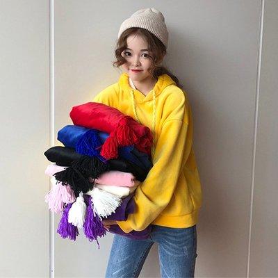 網紅同款衣服冬新款韓版簡約寬松長袖上衣加絨連帽衛衣女潮