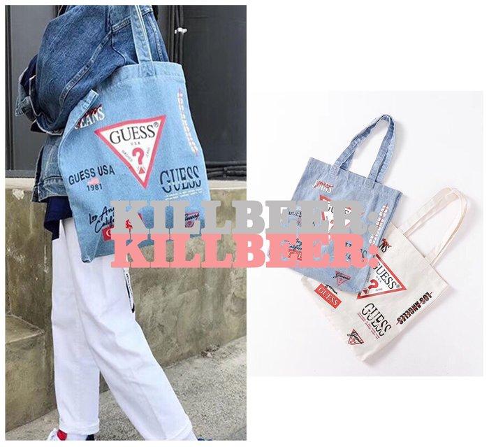 KillBeer:OUTLET代購✈✈美國品牌GUESS紀念款經典年代LOGO印花丹寧牛仔帆布購物袋061716