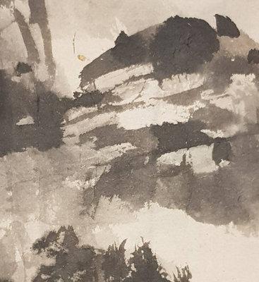 鳳崗文創---{繪畫322}---吳悅石—放鶴下山林----畫心尺寸約:38 x 43公分