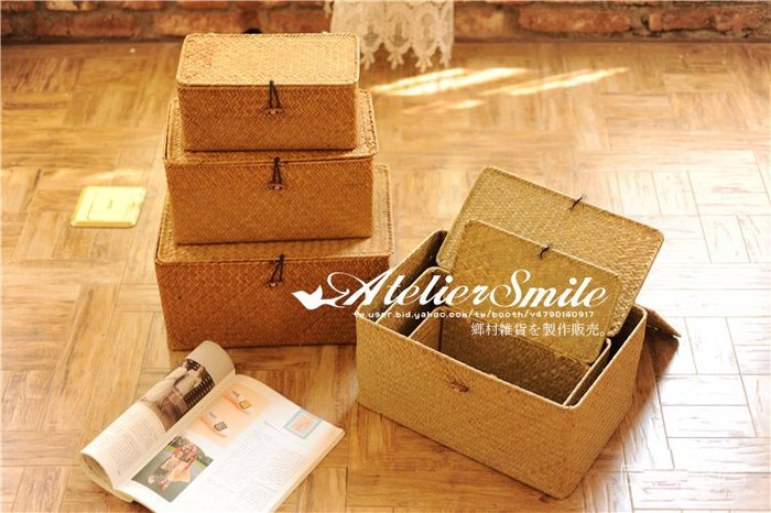 [ Atelier Smile ] 鄉村雜貨 北歐風  手工海草編織籃 收納籃 雜物籃 長方附蓋有扣 # 中 (現+預)