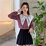 韓系蕾絲雙層娃娃領紅色格薄長袖上衣