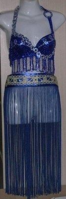 藍亮片bra肚皮舞衣+流蘇腰飾+腰封3件組 肚皮舞腰巾、印度舞、國標舞衣   購買價280元