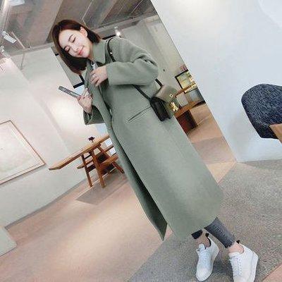 [ ohya梨花 ] =韓國帶回=最新秋冬新款性感名媛個性穿搭過膝修身加厚毛呢長大衣外套