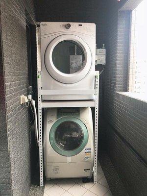 【大象站】台高架- 白色乾衣機層架 92*62不鏽鋼板層 洗衣機 洗碗機 搭配等架.穩固佳.可調整 好組裝 SA9262