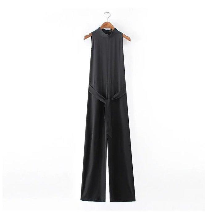 連身褲裝 #2058 立領無袖連身褲 修長顯瘦闊腿褲