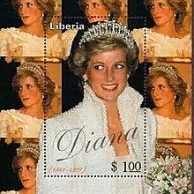 英國郵票外國郵票1997年英國皇室頭戴王冠的戴安娜王妃(小型張)