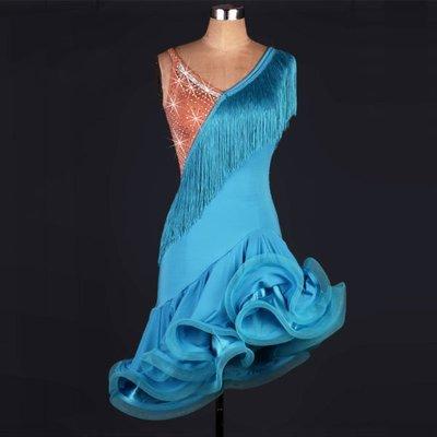 新款拉丁舞流蘇連衣裙女成人 拉丁舞表演連衣裙 拉丁舞比賽服