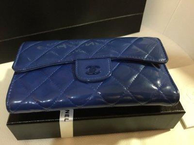 【Chanel】百櫃專櫃正品 時尚名媛 貴氣寶藍限量品長夾