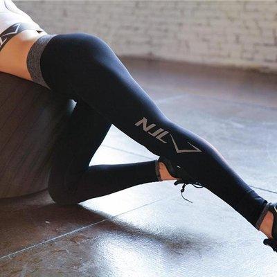運動健身褲女緊身彈力速干薄款無縫針織透氣鬆緊腰瑜伽褲【】