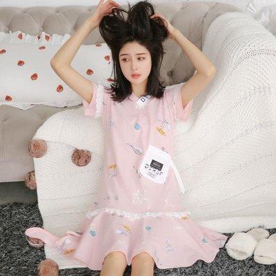 睡裙女夏棉質短袖甜美花邊公主睡衣學生寬鬆大碼棉質中長裙女夏天