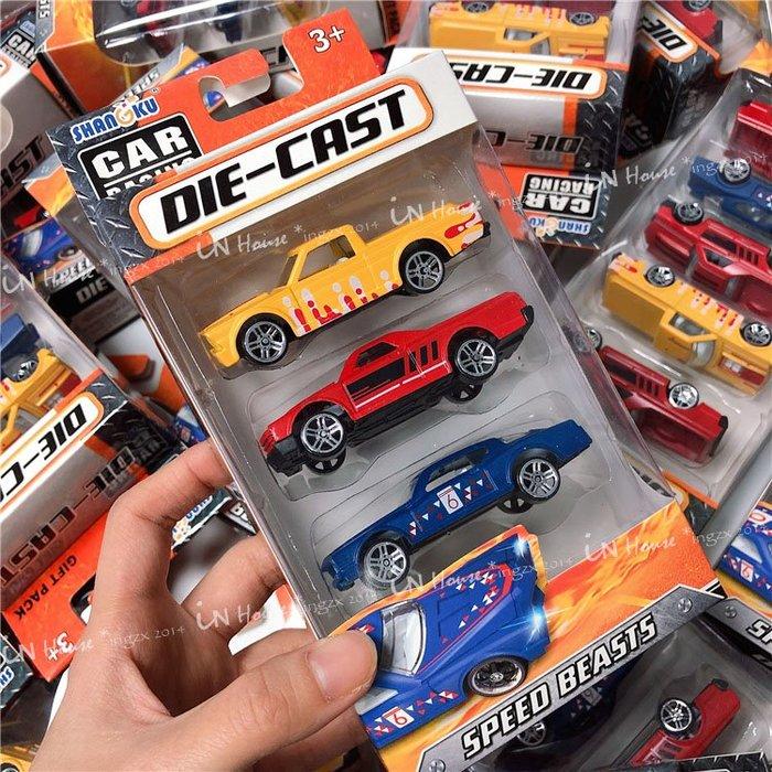 IN House*🇹🇼現貨 3件一組 兒童玩具 合金 小車 金屬 汽車 模型 跑車 轎車 賽車