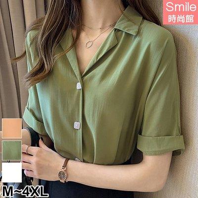 【V2963】SMILE-簡約氣質.方形鈕釦小V領短袖襯衫
