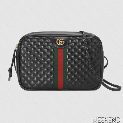 【WEEKEND】 GUCCI Quilted Small 小款 壓紋 皮革 編織背帶 肩背包 黑色 541051