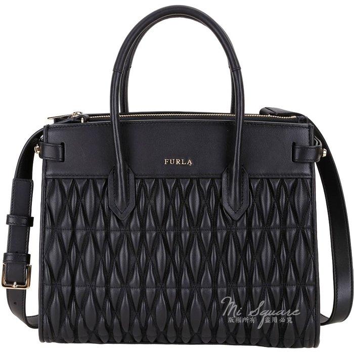 米蘭廣場 FURLA Pin Cometa 絎縫皮革雙層手提兩用包(黑色) 1920048-01