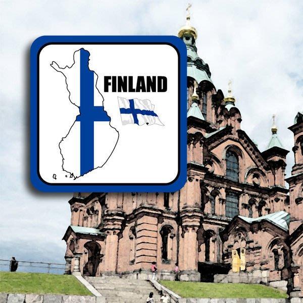 【衝浪小胖】芬蘭國旗領土登機箱防水、抗UV貼紙/多尺寸、各國都有賣和客製/Finland
