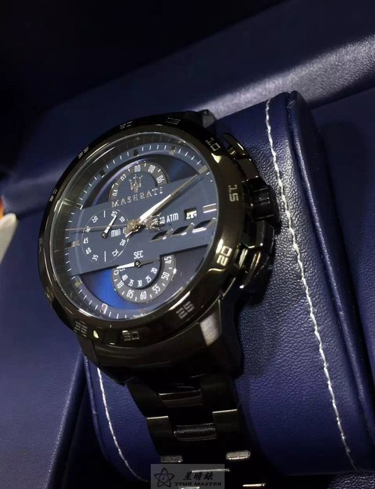 請支持正貨,瑪莎拉蒂手錶MASERATI手錶INGEGNO款,編號:MA00137,黑色錶面槍灰色精鋼錶鏈錶帶款