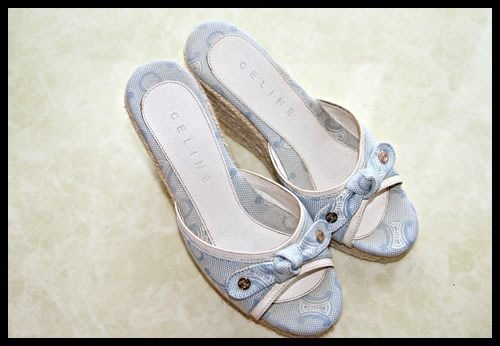 【CELINE】logo天藍色單寧蝴蝶結高跟楔型拖鞋