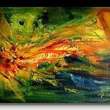 【 金王記拍寶網 】U973  朱德群 款 抽象 手繪原作 厚麻布油畫一張 罕見 稀少 藝術無價~