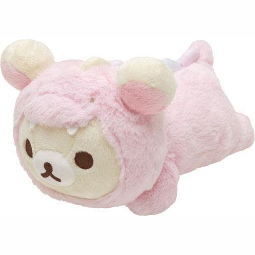 (現貨在台)日本正品Rilakkuma 拉拉熊 懶懶熊 San-X 公仔 絨毛娃娃 抱枕 靠枕 午安枕 趴姿 粉色恐龍