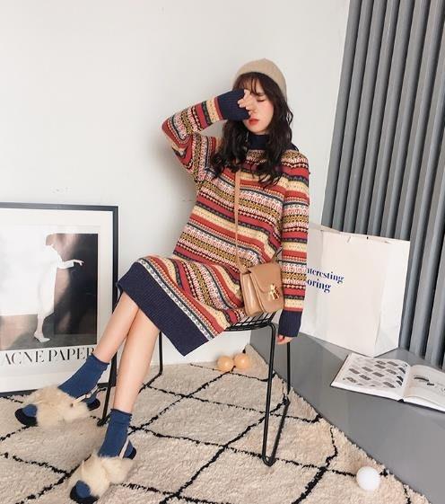 ins毛衣裙女寬鬆超火慵懶秋冬季針織兩件套裝2色