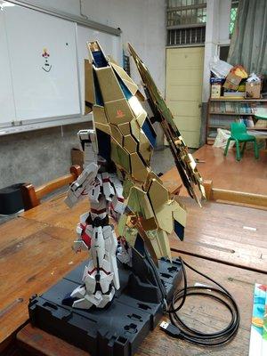 GUNDAM PG版1/60 獨角獸鋼彈只有金色翅膀含連結器大班製組裝塗裝完成版