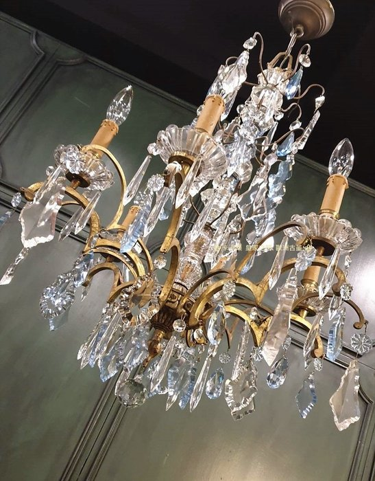 ⚜️ 皇家之門 . 歐洲古董 ⚜️Elegant! 法國古董 純銅 水藍水晶 多層次 水晶燈 B6363 ✬